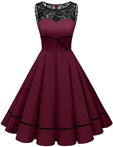 Bbonlinedress Abendkleider Cocktailkleid Rockabilly Kleid Knielang Vintage Retro Kleider Faltenrock Damen Hochzeit Burgundy L