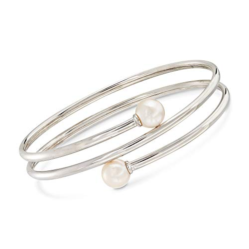 Ross-Simons 8-8.5mm Cultured Pearl Bypass Bangle Bracelet in Sterling Silver. 7 inches