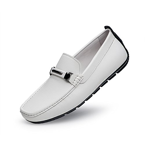 ZRO Men's Casual Fashion Driving Loafers Flats Boat shoes WHITE US 10