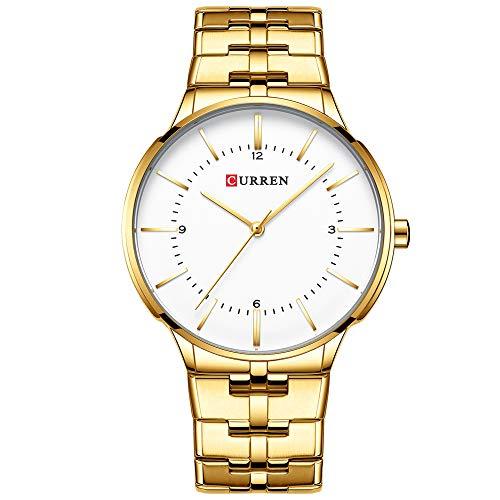 Curren Reloj de pulsera masculino con fecha de acero casual de cuarzo dorado 8321