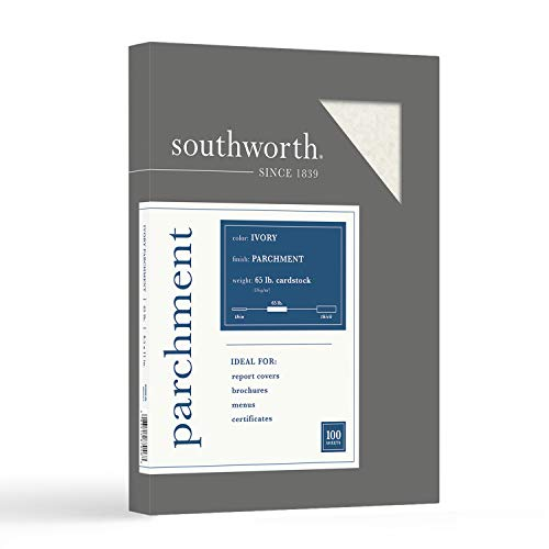 """Southworth Parchment Cardstock, 8.5"""" x 11"""", 65 lb/176 gsm, Ivory, 100 Sheets - Packaging May Vary (Z980CK)"""