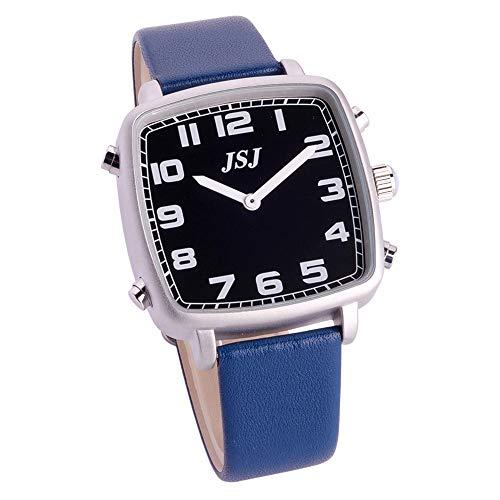 Reloj Parlante en Español, Reloj de Pulsera Cuadrado,Esfera Negro, Azul Correa de Cuero TSSB-1812S