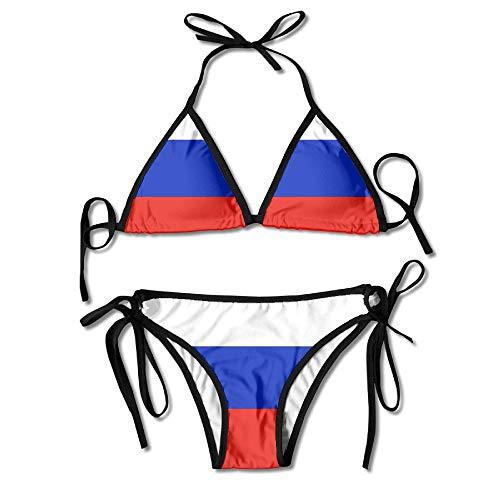 ZMYGH Russian Flag Sexy Harness Boxing Bikini Womenâ€s Halterneck Top and Sexy G-String Bikini Set Swimsuit