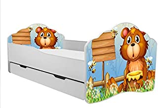 TODDLER KIDS CHILDRENS BED quot bear with honey quot  size 140x70 with matress and drawer