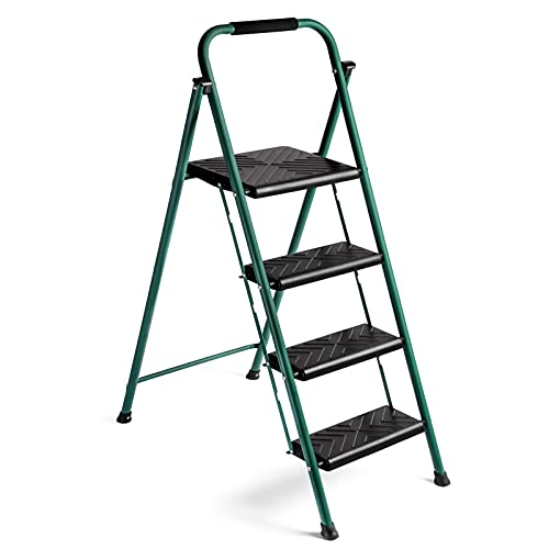 Delxo 4 Step Folding Step Ladder, Heavy Duty &Portable Step Stool for Adults with Longer Cushioned Handle & Widen Textured Steps,Hold up to 330lbs Green