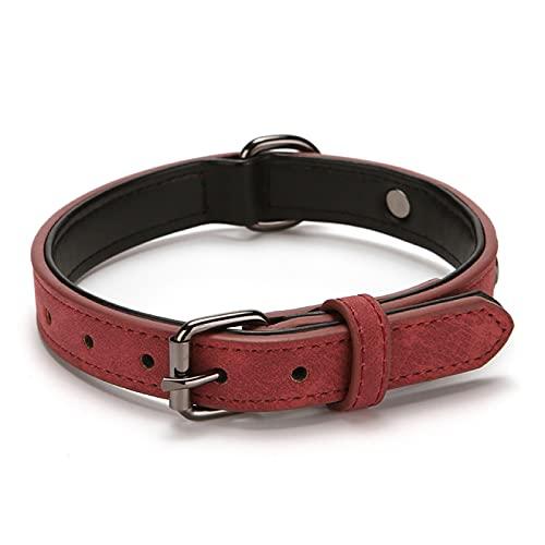 Yetier Collar para Perros, Collar con Placa de identificación de Cuero Personalizado para Gatos Adecuado para Perros pequeños y Grandes