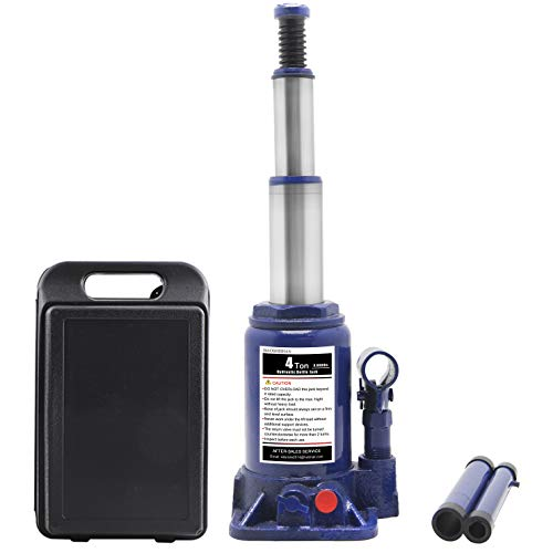 "BAOSHISHAN 4 Ton Double Ram Bottle Jack 6-1/4"" to 15-3/8"" Lifting Range Portable Hydraulic Bottle Jack with Carrying Case"