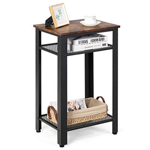 COSTWAY Beistelltisch im Industriedesign, Nachttisch mit Metallgestell, Sofatisch mit Gitterablage, Kaffeetisch für Wohnzimmer Schlafzimmer (3 Etagen 45x35x75cm)