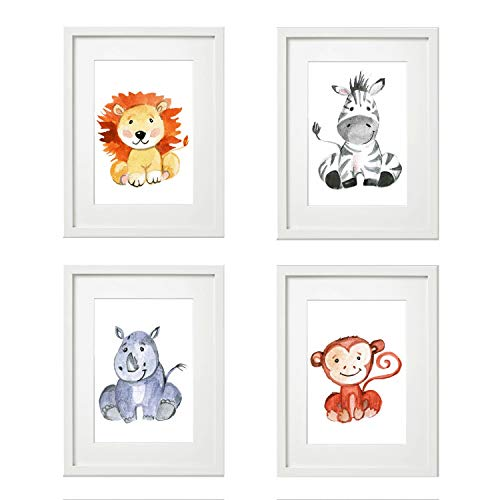 4er Set Kinderzimmer Babyzimmer Poster Bilder DIN A4 | Mädchen Junge Deko Löwe AFFE Zebra Nashorn