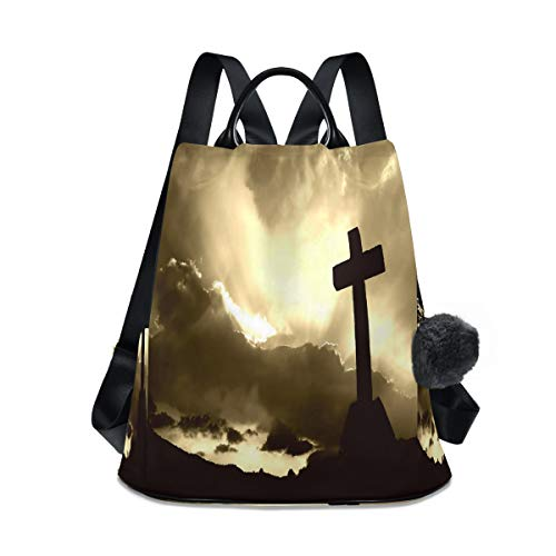 Christian Special Cross Sunset Backpack Purse Anti-Theft Bookbag Rucksack Bag for Women Travel