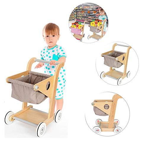 Juguete de carro de supermercado de madera Carro de compra de madera Juguete de simulación Tienda y juego de rol de juguete para niños Niños, Juguete de carro de supermercado de madera