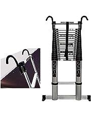 Telescopische Ladders Multi-Purpose Aluminium Telescopische Ladder met afneembare haken en Stabilizer Bar Portable Extension Ladders for gebruik thuis Roof RV Outdoor Activities 330 Lb Laadvermogen LQ