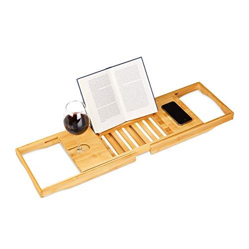 Relaxdays Bandeja Bañera, Tabla de Baño, Ajustable, Atril Libros, Soporte Copas, Bambú, 1 Ud, 17,5 x 70 x 22 cm, Marrón