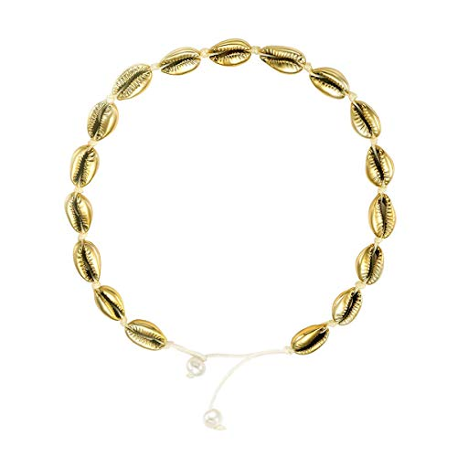 SIMPLGIRL Natural Beach Shell Choker Necklace Seashell Necklace Handmade Rope Pearls Gold Cowrie Shell Pendant Adjustable for Women, 16''