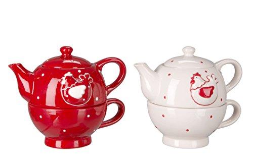 Tea for one «jolipa de poule», Céramique, rouge, 17 x 14 x 11 cm