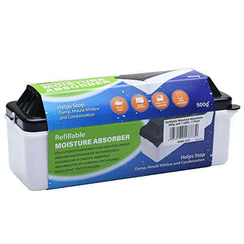 ANSIO Refillable Moisture Absorbers 500 grams, Condensation Remover Dehumidifiers for Damp, Mould, Moisture in Home, Kitchen, Wardrobe, Bedroom, Caravan, Office, Garage, Bathroom