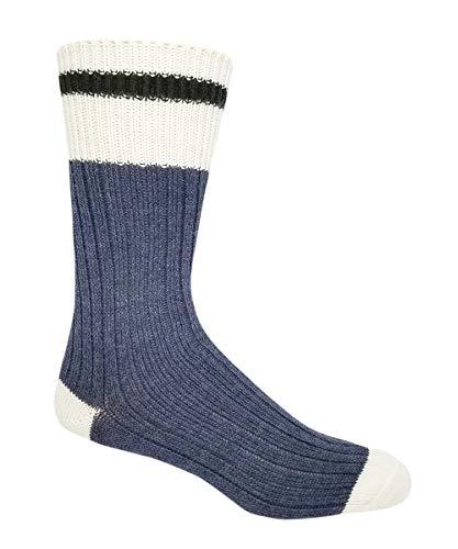 J.B. Field's Colorful Wool Cabin Socks (2 Pair) (Blue, Large (Men's 8-12 & Women's 10-13 Shoe))