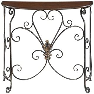 French Country Antique Black Metal Scrollwork, Barthes Console Table with Half-moon Tabletop Is the Perfect Spot to Display Your Favorite Accents