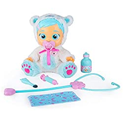 6 accessories included; a dummy, a stethoscope, an injection, a cloth, cough syrup and a thermometer. Take care of poorly Kristal. She gets sick, she has spots, a cough and a fever. She cries when you take away her dummy! Cry Babies cry real tears.