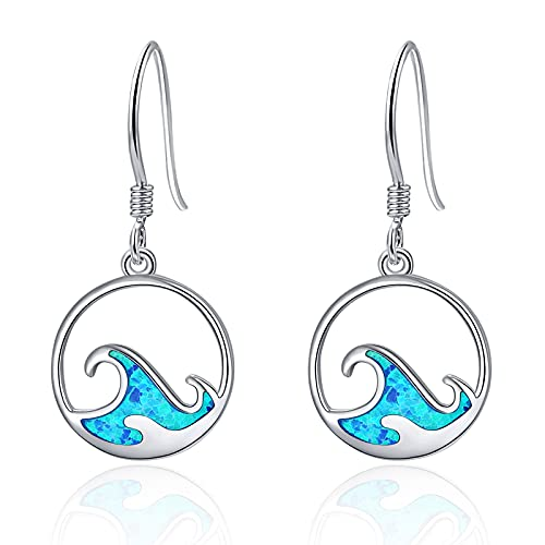 Orecchini opale blu Argento sterling 925 per ragazze Orecchini pendenti con onde oceaniche Regali per le donne Argento