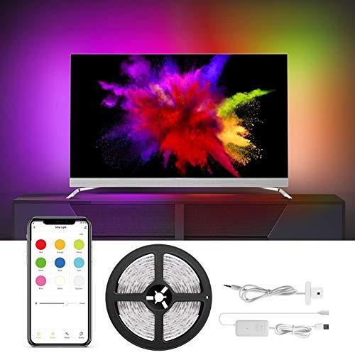 COULAX LED TV Hintergrundbeleuchtung mit Farbauswahl, LED Strip 3M, Smart RGB Led Streifen, Kompatibel mit Alexa, Google Home, USB betrieben (nur unterstützt 2.4 GHz WiFi),ür 40-60 Tv Pc-Bildschirm