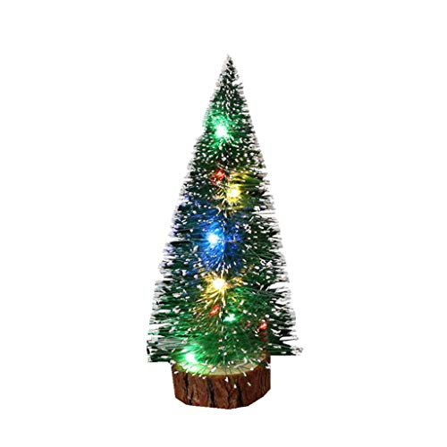 GOLDSMITH Small Artificial Christmas Tree Prelit Lights, 4 Pack Table Top Centerpieces Bottle Brush Trees Miniature Realistic Greenery Pine Fir Plants Desk Decor 20cm