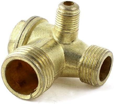 eDealMax rosca Macho de latón válvula de retención Para el compresor de aire tono Oro