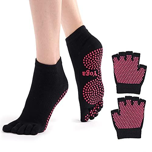 ThreeH Conjunto de guantes y calcetines de yoga antideslizante para mujeres Yoga...