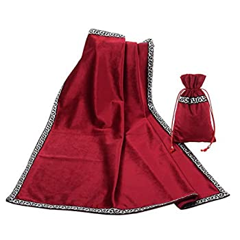 BLESSUME Altar Tarot Table Cloth Divination Wicca Velvet Cloth with Tarot Pouch  Red