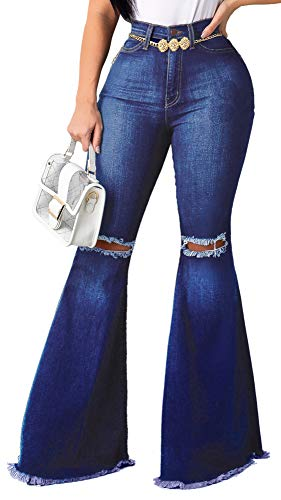 Bell Bottom Jeans for Women Ripped High Waisted Classic Flared Pants X-Large