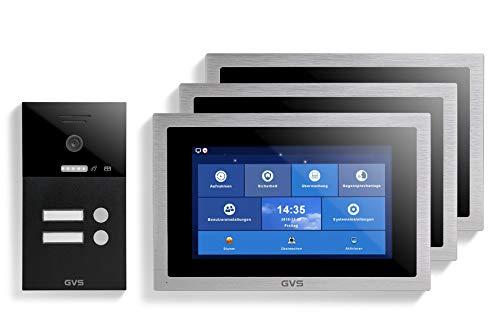 GVS Videoportero IP IP65, 3 monitores de 10 pulgadas, aplicación, cámara HD de 150°, apertura de puerta, memoria de 32 GB, interruptor PoE, juego de 2 casas, AVS1298U
