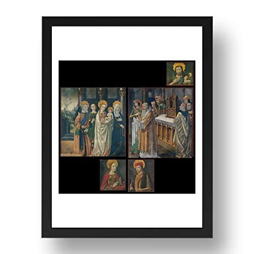 Period Prints Medieval Art, Maestro de La Seu d'Urgell -, arte vintage, reproducción A3 en 17x13 (A3) Negro Frame