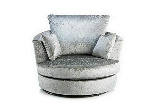 Glitz Crushed Velvet Swivel Chairs/Cuddle Chair (Silver)