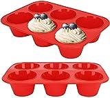 2 Piezas Bandeja para Magdalenas Molde de Silicona Grande para 6 Magdalenas Bandejas para Hornear Muffin con Recubrimiento Antiadherente para Muffins, Cupcake, Budín 27.5 x 19 x 5 cm (Rojo)