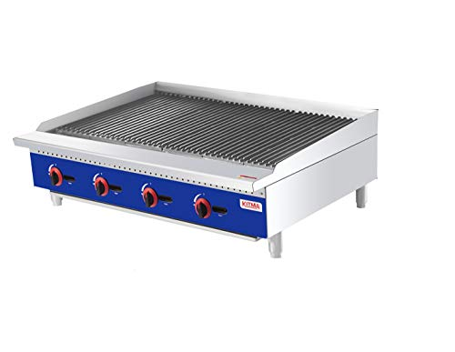 48'' Char Rock Broilers, Broilers with 6 Adjustable Grates, Stainless Steel Flat Char Rock Broiler with Grill for Restaurant Equipment (140,000 BTU)