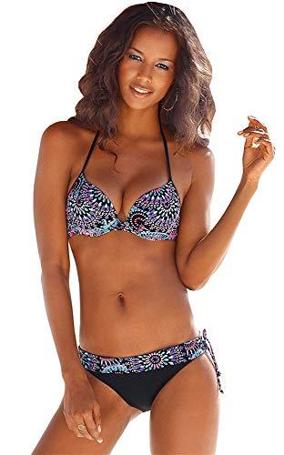 s.Oliver Damen Push Up Bügel Bikini (black print, 38A)