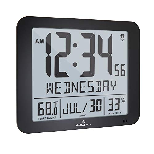 Marathon Slim Atomic Full Calendar Wall Clock with Large 3.25' Digits, Indoor Temperature and Humidity - Batteries Included - CL030067BK (Black)