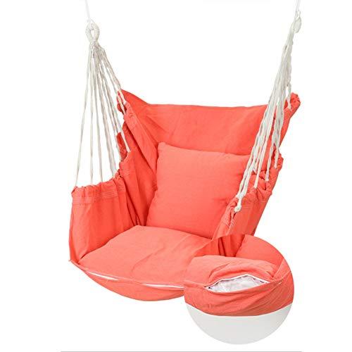 WHFY Hamaca colgante, silla colgante, silla lavable, con cojín, cueva colgante con algodón de alta calidad, para interiores y exteriores (rosa)