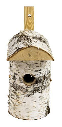 CORVUS Nistkasten zum Hängen, aus Birke, Vogelhäuschen Handarbeit Zubringer