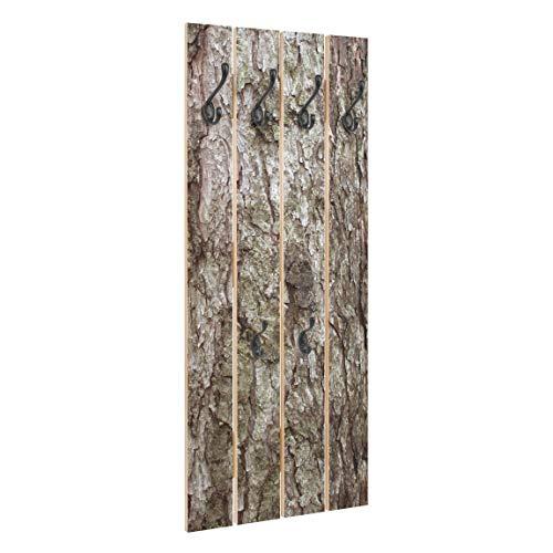 Bilderwelten Perchero de Madera Bark - Ganchos Negros 100x40 cm