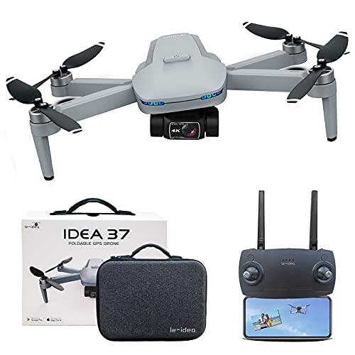 le-idea IDEA37 Drone Quadcopter Ultraligero y Plegable, Cardán de 2 Ejes con Cámara EIS 4K, Tiempo de Vuelo 25 Min, 8MP Foto, 2.5 HD Transmisión Video, Drone GPS 5GHz Profesional para Adultos