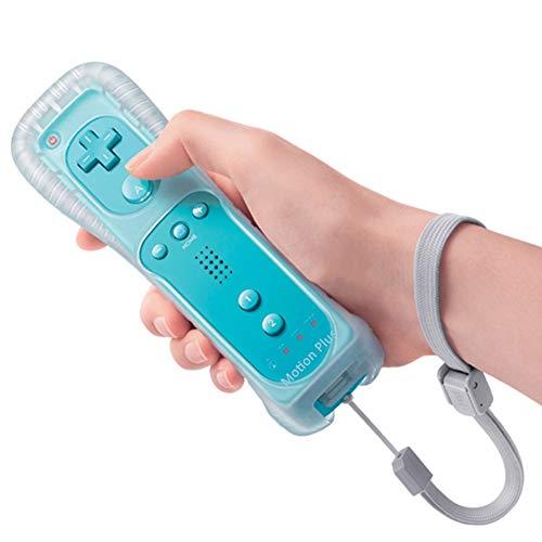Mando Remote para Wii, Control Remoto Controlador a Distancia con Motion Plus Integrado, Funda Silicona y Correa de Muñeca, Sin Nunchuck Compatible con N-Wii U, Wii (Azul Claro)