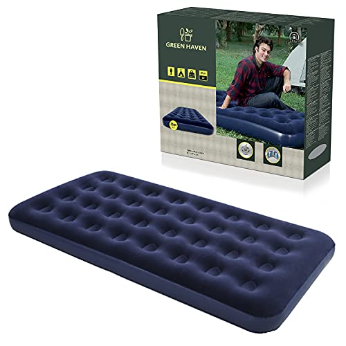 GREEN HAVEN Single Blow up Camping bed |Waterproof Single Airbed Inflatable Mattress | Single Air Beds for Adults & Kids |Quick Inflatable Camping Mattress | Premium Camping Mattress Single Air Bed