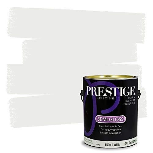 Prestige exterior paint and primer in one, 1-gallon, semi-gloss, white