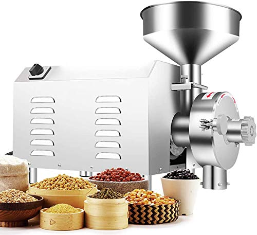 NEWTRY1500W Commercial Superfine Grain Mill Stainless Steel Grain Grinder Industrial Herb Spice Sugar Pepper Soybean Grinder Pulverizer Grinding Machine 44-88lb/h (1500W; 44-88lb/h)