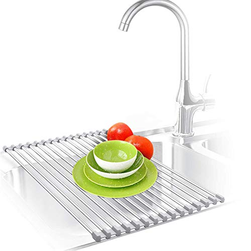 Roll Up Dish Drying Rack, Over The Sink Dish Drying Mat, Large Silicone Stainless Steel Dishes Drainer, Foldable Drain Rack for Kitchen 17.8' L x 11.3' (Gray)