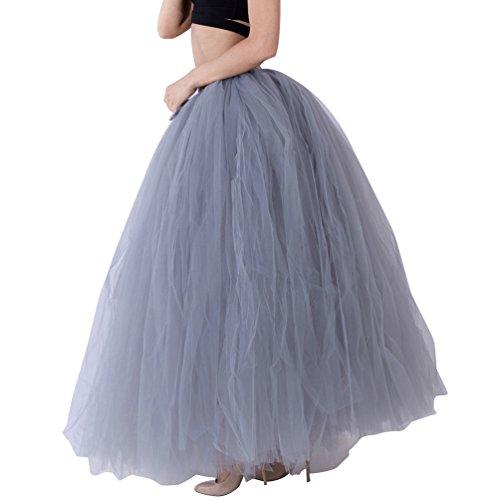 LINNUO Donna Gonna Lunga in Tulle Tutu Sottogonna con Fiocco Petticoat Tutu per Festa Party