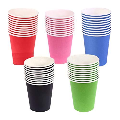 Vasos de papel, 50 piezas para manualidades infantiles (5 colores)