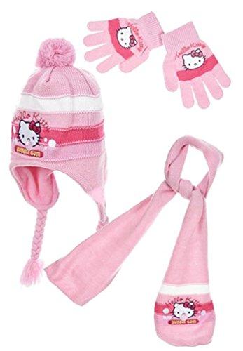 Hello kitty Echarpe, bonnet péruvien et gants enfant fille Rose et Violet de 3 à 8ans - Rose, 52 cm (3-6 ans)