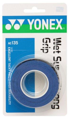 ヨネックス(YONEX) テニス バドミントン グリップテープ ウェットスーパーストロンググリップ (3本入り) AC135 オリエンタルブルー